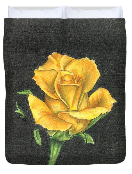 Duvet Cover featuring the drawing Yellow Rose by Troy Levesque
