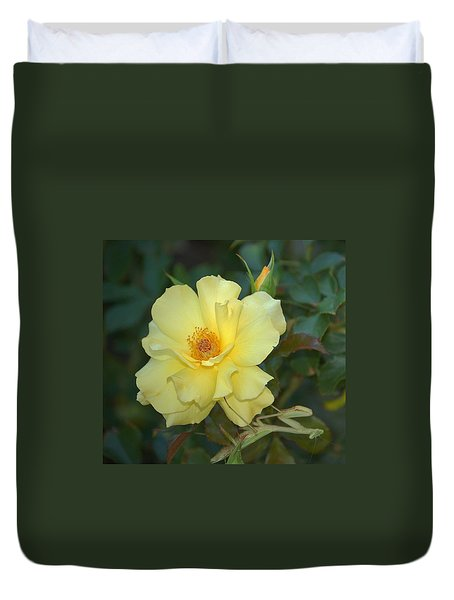 Yellow Rose With Praying Mantis Duvet Cover
