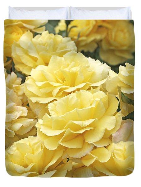 Yellow Roses In The Garden Duvet Cover