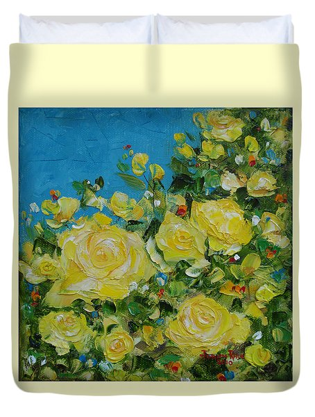 Yellow Roses Duvet Cover by Judith Rhue