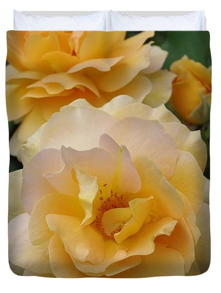 Duvet Cover featuring the photograph Yellow Roses by Marilyn Wilson