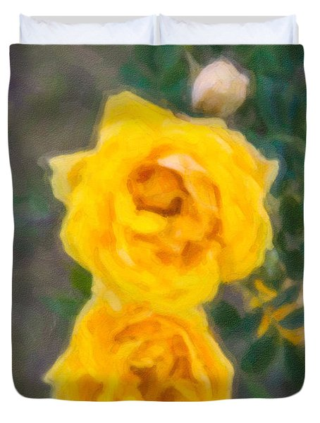 Yellow Roses On A Bush Duvet Cover by Omaste Witkowski