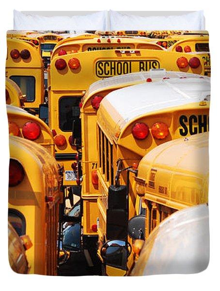 Yellow School Bus Duvet Cover
