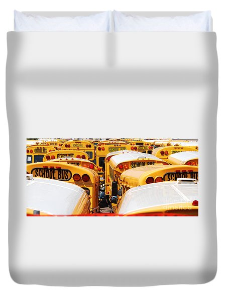 Yellow School Bus Duvet Cover