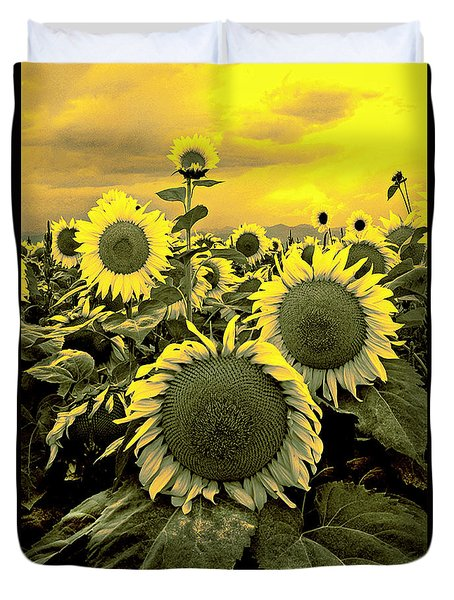 Yellow Sky Yellow Flowers. Duvet Cover