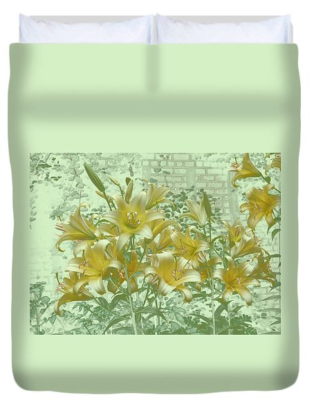 Duvet Cover featuring the photograph Yellow Stargazers On Soft Green by Tom Wurl
