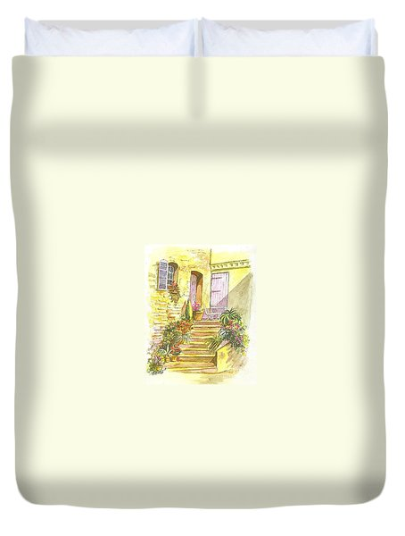 Duvet Cover featuring the painting Yellow Steps by Carol Wisniewski