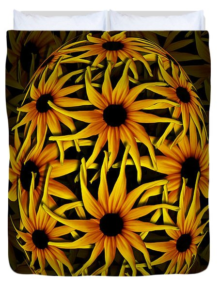 Yellow Sunflower Seed Duvet Cover by Barbara St Jean
