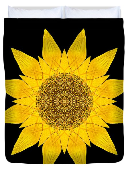 Yellow Sunflower X Flower Mandala Duvet Cover