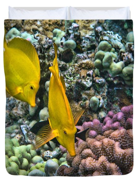 Yellow Tang Pair Duvet Cover by Peggy Hughes