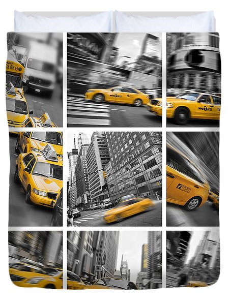 Yellow Taxis Collage Duvet Cover