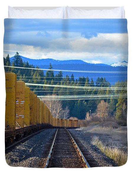 Yellow Train To The Mountains Duvet Cover