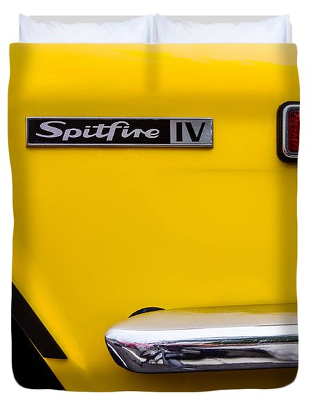 Yellow Triumph Spitfire Duvet Cover by Jerry Fornarotto