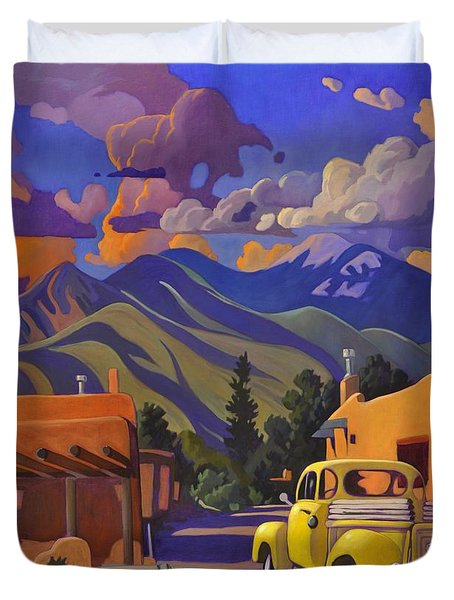A Yellow Truck In Taos Duvet Cover