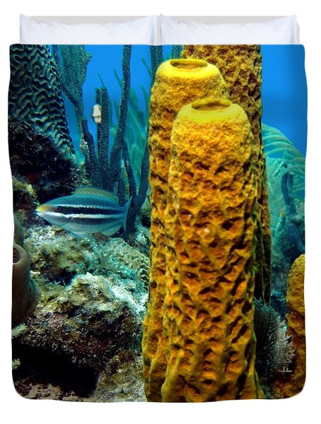 Duvet Cover featuring the photograph Yellow Tube Sponge by Amy McDaniel