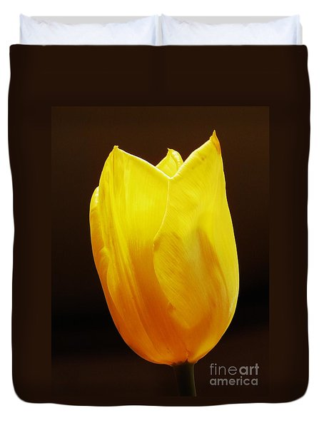 Yellow Tulip 3 Duvet Cover by Sarah Loft