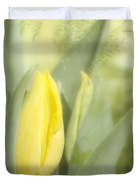 Yellow Tulip Bud Duvet Cover by Kim Hojnacki