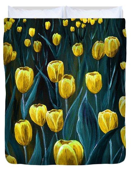 Yellow Tulip Field Duvet Cover by Anastasiya Malakhova