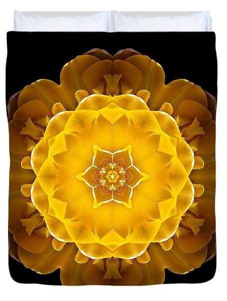 Yellow Tulip II Flower Mandala Duvet Cover