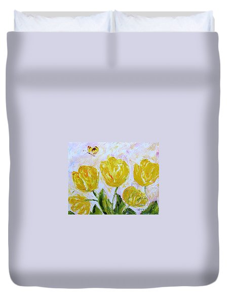 Yellow Tulips And Butterfly Duvet Cover