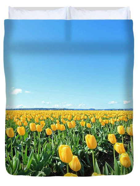 Yellow Tulips Duvet Cover by E Faithe Lester