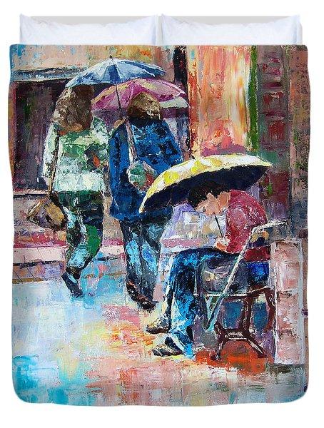 Yellow Umbrella Duvet Cover