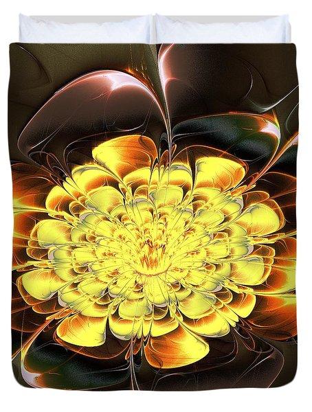 Yellow Water Lily Duvet Cover by Anastasiya Malakhova