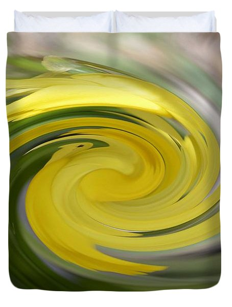 Duvet Cover featuring the digital art Yellow Whirlpool by Luther Fine Art