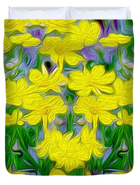 Yellow Wild Flowers Duvet Cover by Jon Neidert