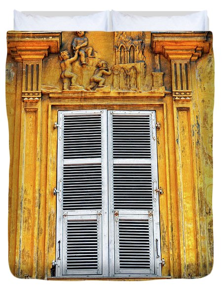 Duvet Cover featuring the photograph Yellow Window Nice France by Dave Mills