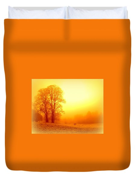 Yellow Winter Sunrise Duvet Cover by The Creative Minds Art and Photography