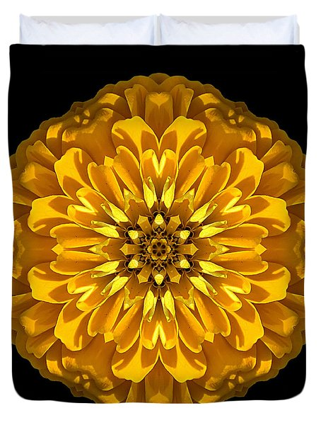 Yellow Zinnia Elegans Flower Mandala Duvet Cover