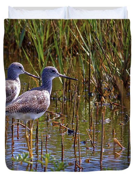 Duvet Cover featuring the photograph Yellowlegs Of Texas by Gary Holmes