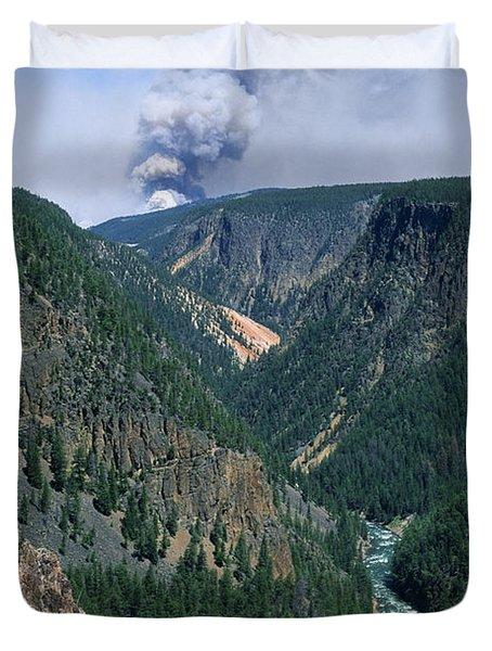 Yellowstone Afire Duvet Cover by Sandra Bronstein