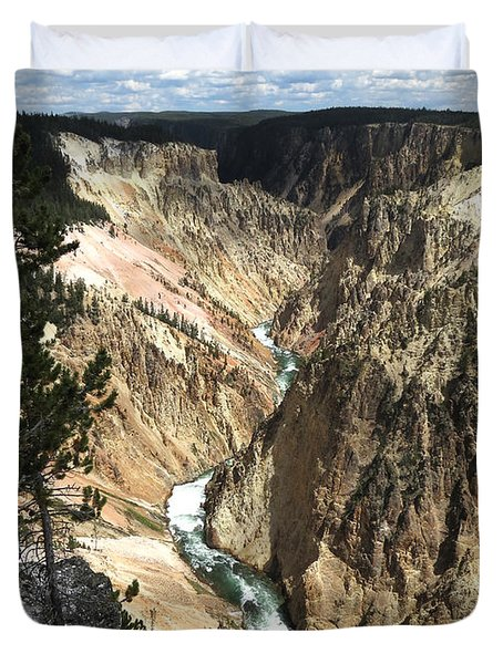 Duvet Cover featuring the photograph Yellowstone Canyon by Laurel Powell