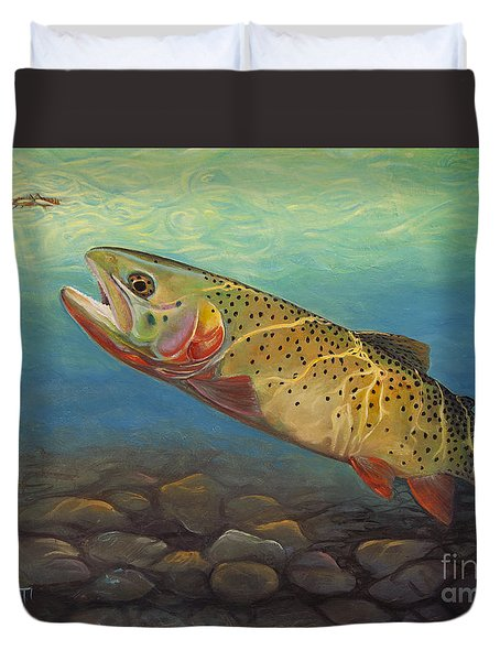 Yellowstone Cut Takes A Salmon Fly Duvet Cover