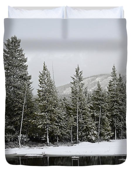 Yellowstone Gibbon Meadows Spring Snow And Reflection Duvet Cover by Bruce Gourley