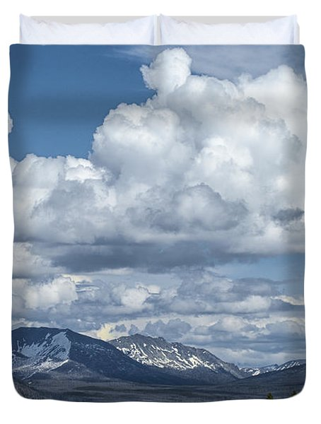Yellowstone Lake Cloudscape Duvet Cover by Sandra Bronstein