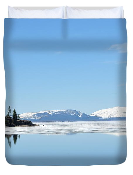 Yellowstone Lake In The Spring Duvet Cover