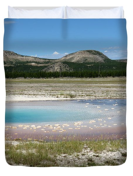 Duvet Cover featuring the photograph Yellowstone Landscape by Laurel Powell