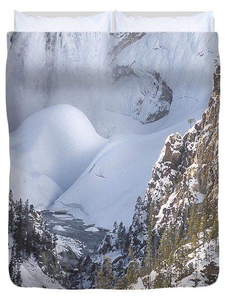 Yellowstone -  Lower Falls In Winter Duvet Cover by Sandra Bronstein
