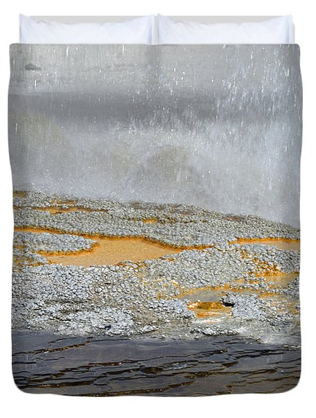 Yellowstone National Park's Jewel Geyser Duvet Cover by Bruce Gourley