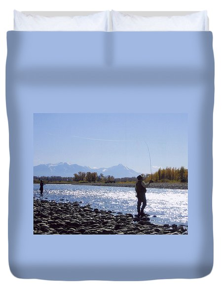 Yellowstone River Fly Fishing Duvet Cover