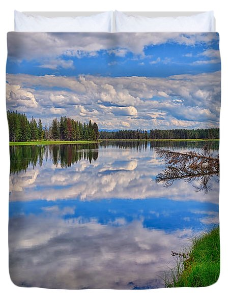 Yellowstone River Reflections Duvet Cover