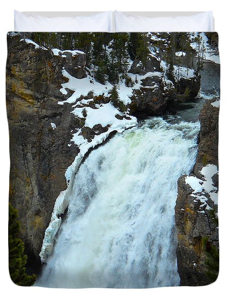 Yellowstone Upper Falls In Spring Duvet Cover