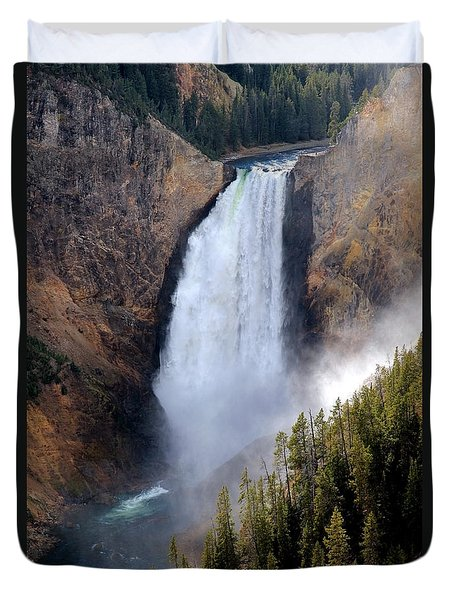 Lower Yellowstone Falls Duvet Cover by Athena Mckinzie