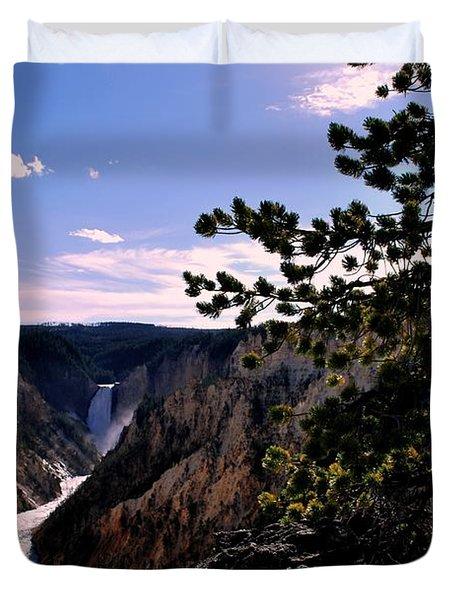 Duvet Cover featuring the photograph Yellowstone Waterfall by Matt Harang