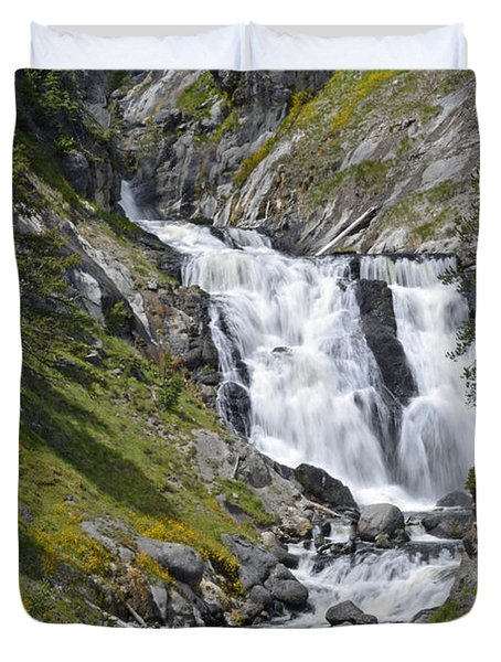Yellowstone's Mystic Falls With Spring Flowers Duvet Cover by Bruce Gourley