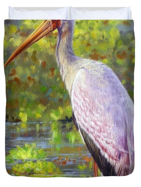 Yelow-billed Stork Duvet Cover