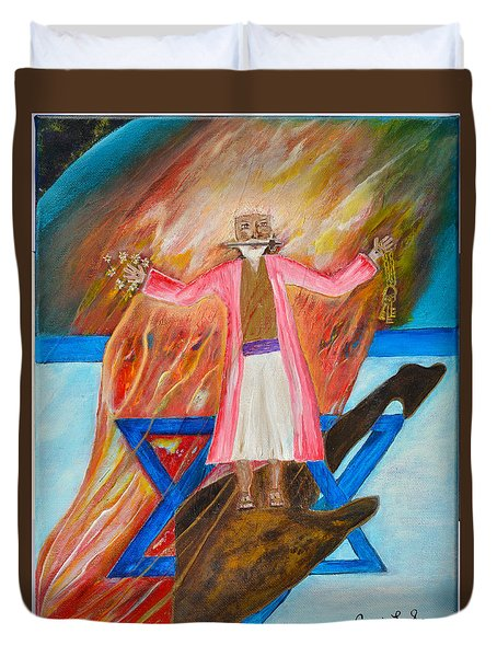Duvet Cover featuring the painting Yeshua by Cassie Sears